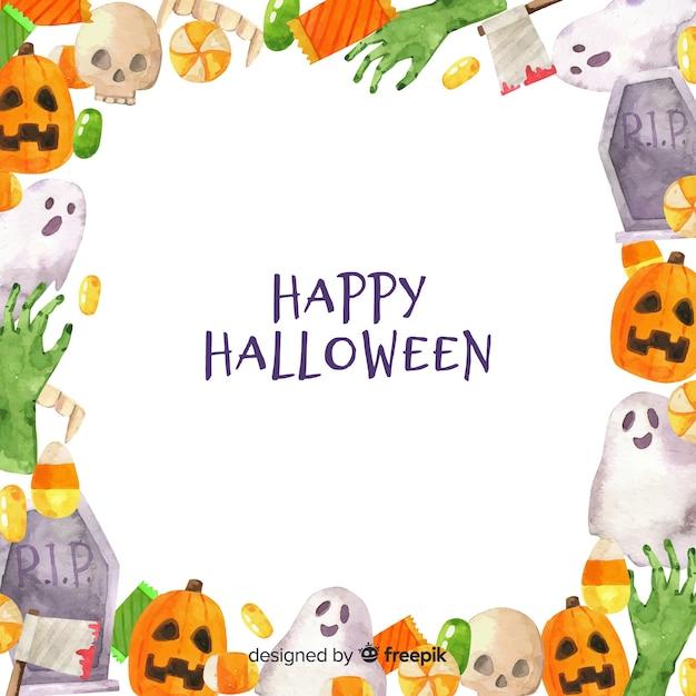 Sfondo cornice per halloween Vettore gratuito