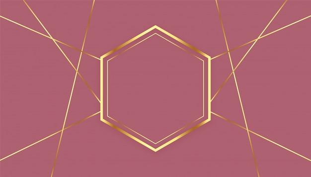 Sfondo cornice premium di linee dorate esagonali Vettore gratuito