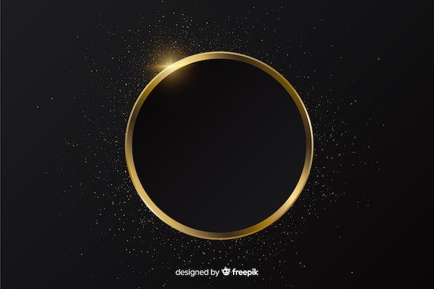 Sfondo cornice rotonda scintillante d'oro Vettore gratuito