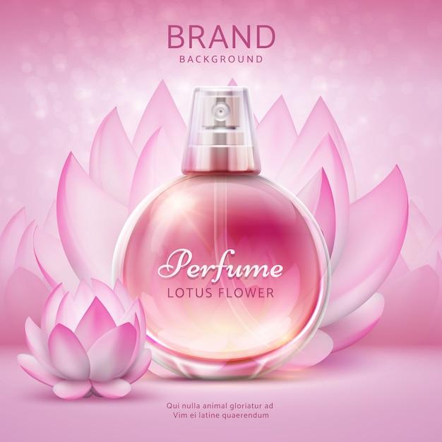 Sfondo cosmetico con loto. fiori di giglio rosa con flacone spray cosmetico per la cura del prodotto. manifesto 3d di vettore dell'annuncio di progettazione di lotus Vettore Premium