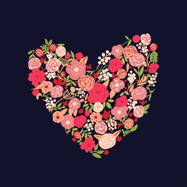 Sfondo cuore floreale disegnato a mano Vettore Premium