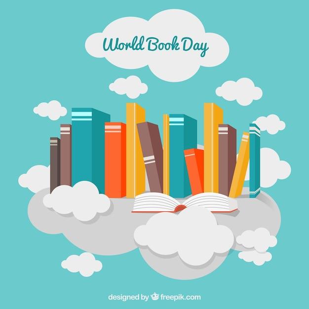 Sfondo decorativo con libri colorati e nuvole Vettore gratuito