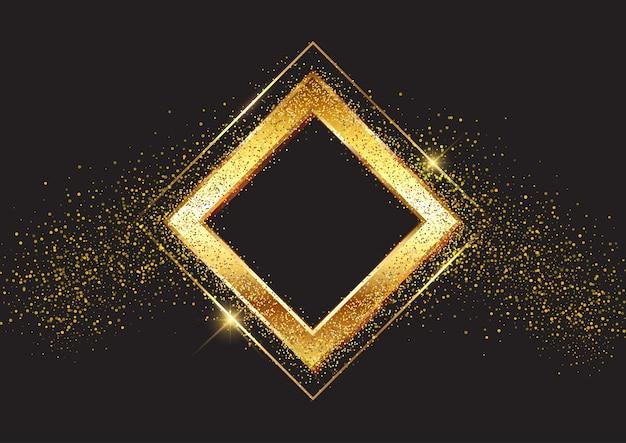 Sfondo decorativo con montatura in oro glitterato Vettore gratuito