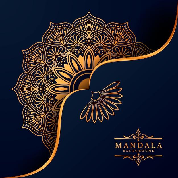 Sfondo decorativo con un elegante design mandala di lusso Vettore Premium
