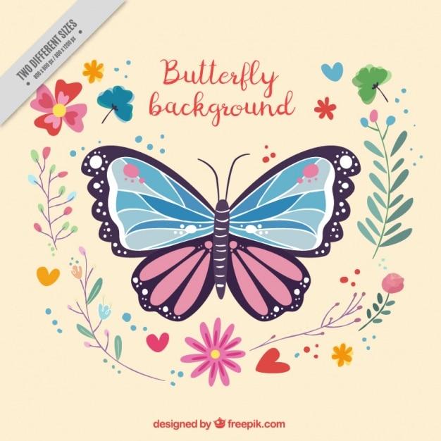 Sfondo decorativo di farfalle e fiori scaricare vettori for Sfondi con farfalle