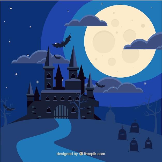Sfondo del castello di halloween Vettore gratuito