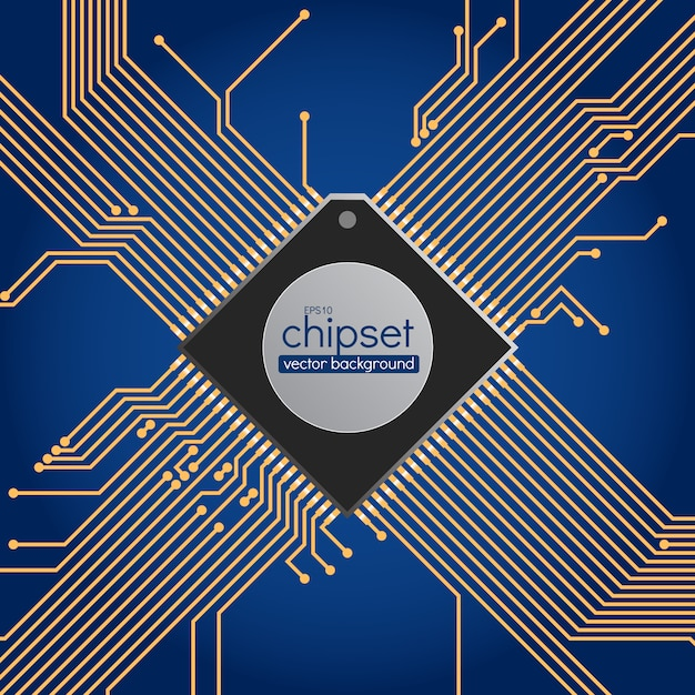 Sfondo del circuito chipset, colori blu e oro Vettore Premium