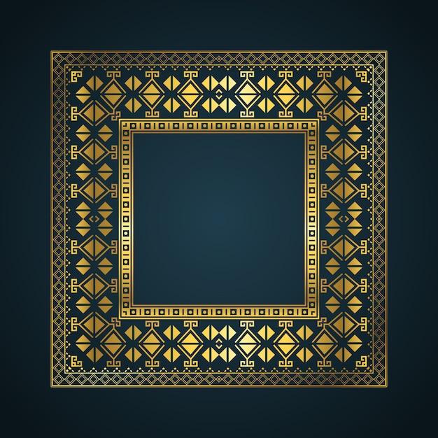 Sfondo del frame di bordo in stile azteco Vettore gratuito