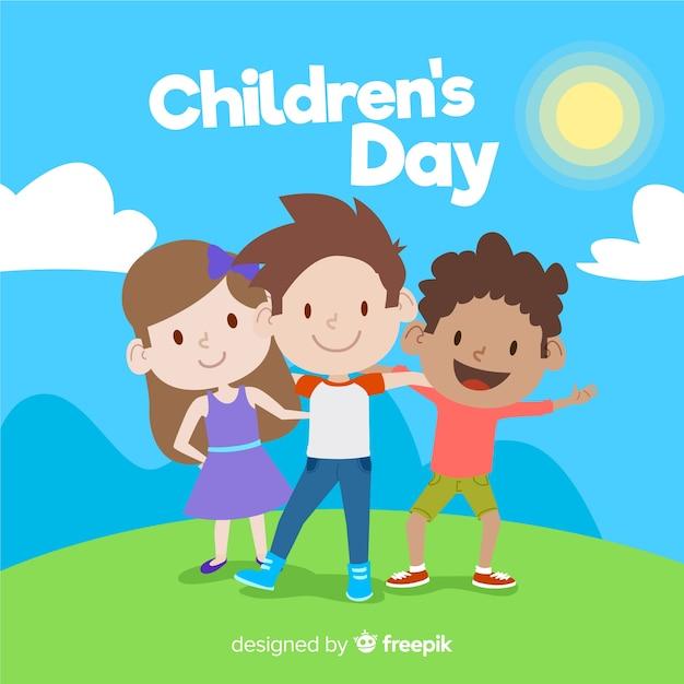 Sfondo del giorno dei bambini Vettore gratuito