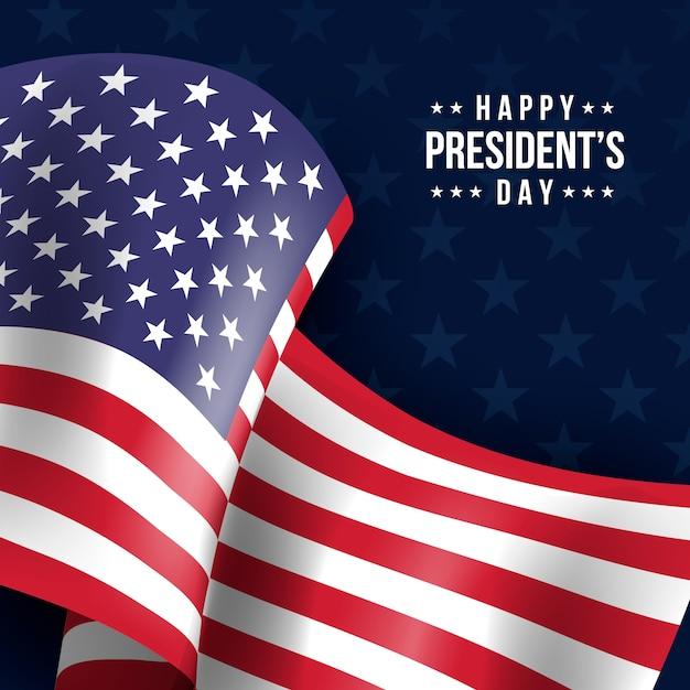 Sfondo del giorno del presidente con bandiera realistica Vettore gratuito