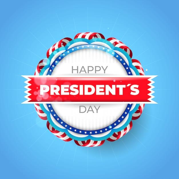 Sfondo del giorno del presidente usa con badge Vettore Premium