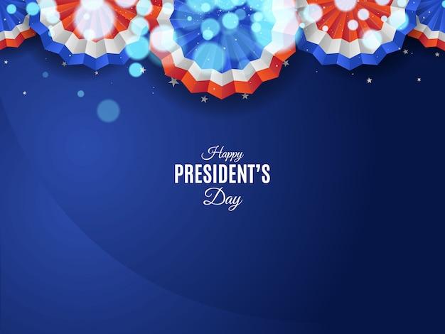 Sfondo del giorno del presidente usa con ornamenti e luci sfocate Vettore Premium