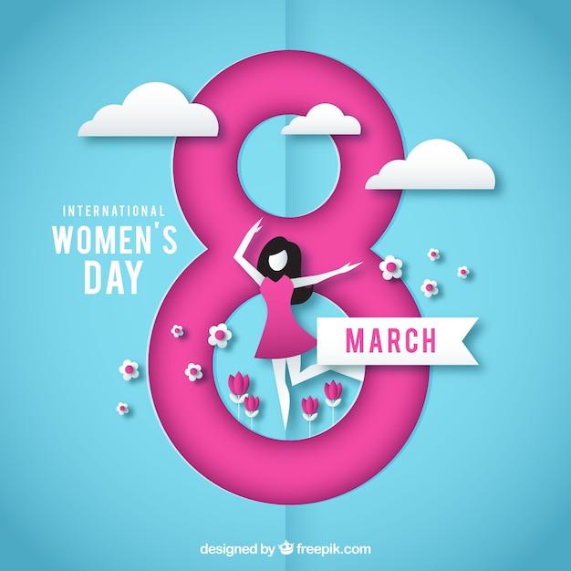 Sfondo del giorno delle donne in stile cartaceo Vettore gratuito