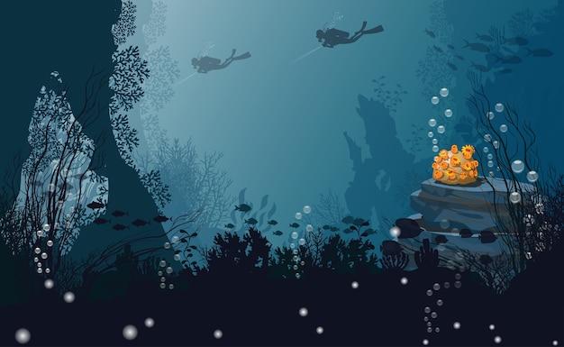 Sfondo Del Mare Sotto La Sagoma Subacqueo Nero Corallo E Bolle