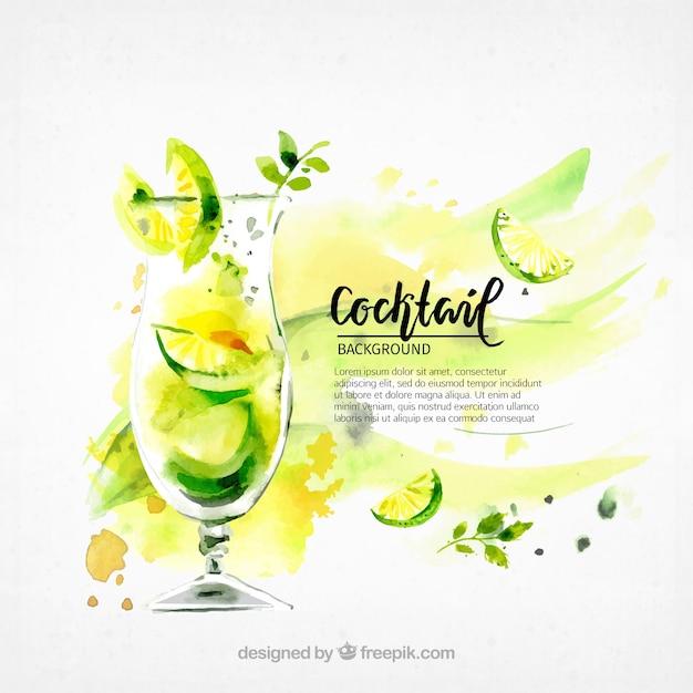 Sfondo del rinfrescante cocktail di acquerello Vettore gratuito