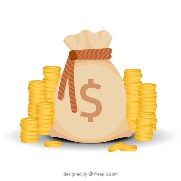 Sfondo del sacchetto di denaro con le monete Vettore gratuito