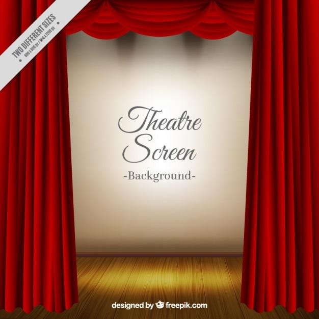 Sfondo del teatro realistico con tende rosse Vettore gratuito