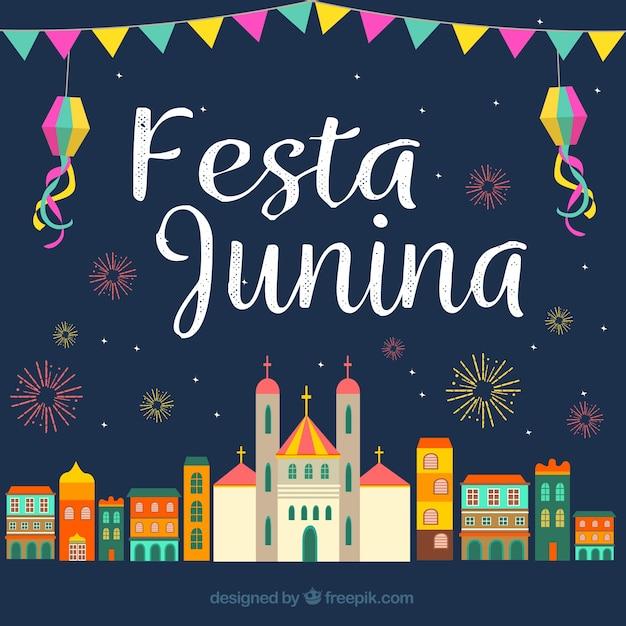 Sfondo della città che festeggia festa junina in disegno piatto Vettore gratuito