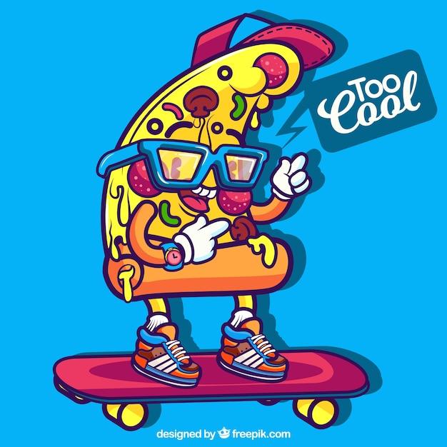 Sfondo della fetta moderna di pizza con lo skateboard Vettore gratuito