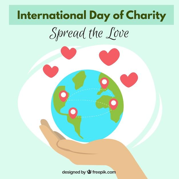 Sfondo della giornata mondiale della carità pieno di amore Vettore gratuito