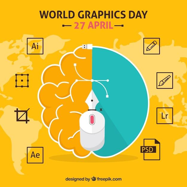 Sfondo della giornata mondiale della grafica con programmi software Vettore gratuito