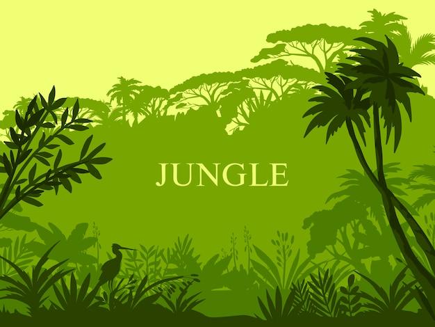 Sfondo della giungla con palme, flora esotica, contorno di cicogna e copia spazio. Vettore Premium