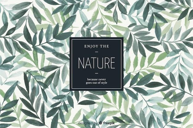 Sfondo della natura con citazione Vettore Premium