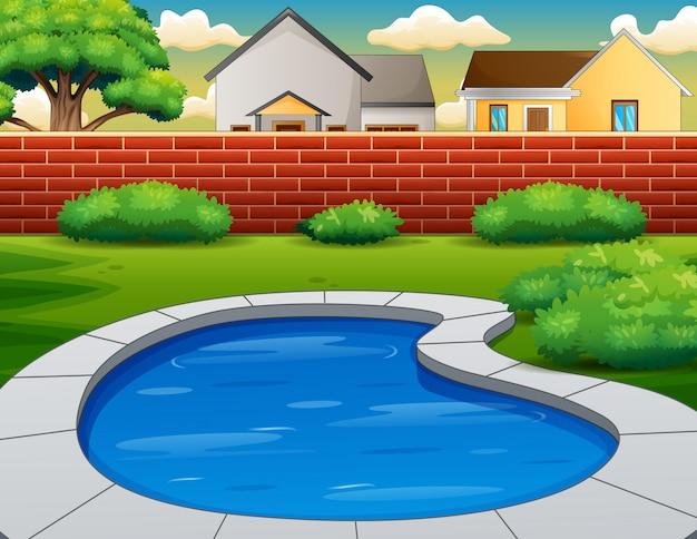 Sfondo della piscina nel cortile Vettore Premium
