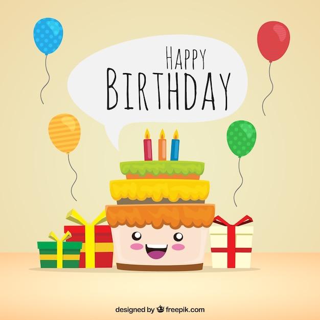 sfondo della torta felice di compleanno con i regali On sito regali gratis
