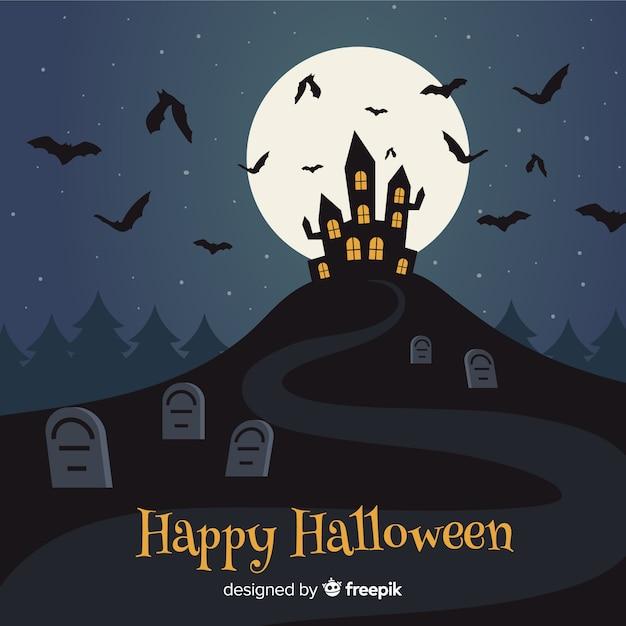 Sfondo design piatto per halloween Vettore gratuito
