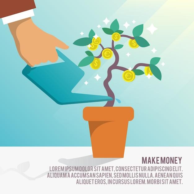 Sfondo di affari con albero e le monete Vettore gratuito
