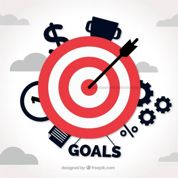 Sfondo di affari con target e gli elementi Vettore gratuito