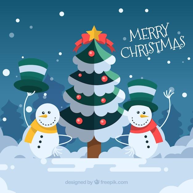 Immagini Di Natale Pupazzi Di Neve.Sfondo Di Albero Di Natale Con Pupazzi Di Neve Scaricare