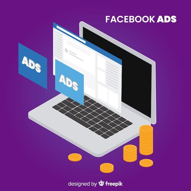 Sfondo di annunci facebook portatile Vettore gratuito