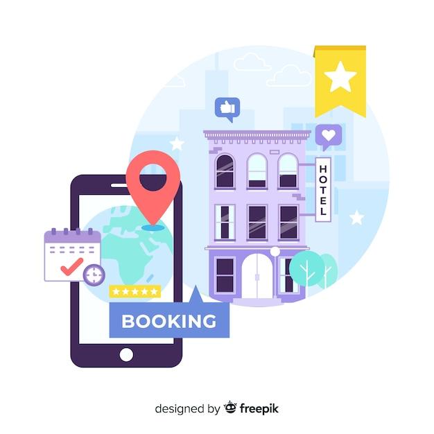 Sfondo di applicazione prenotazione alberghiera piatta Vettore gratuito