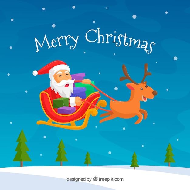 Immagini Babbo Natale Con Slitta.Sfondo Di Babbo Natale Con Slitta Scaricare Vettori Gratis