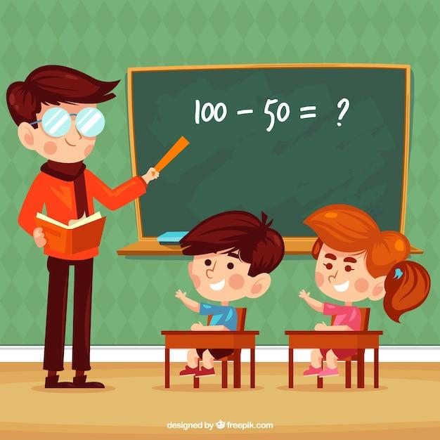 Sfondo di bambini che imparano in classe con insegnante Vettore gratuito