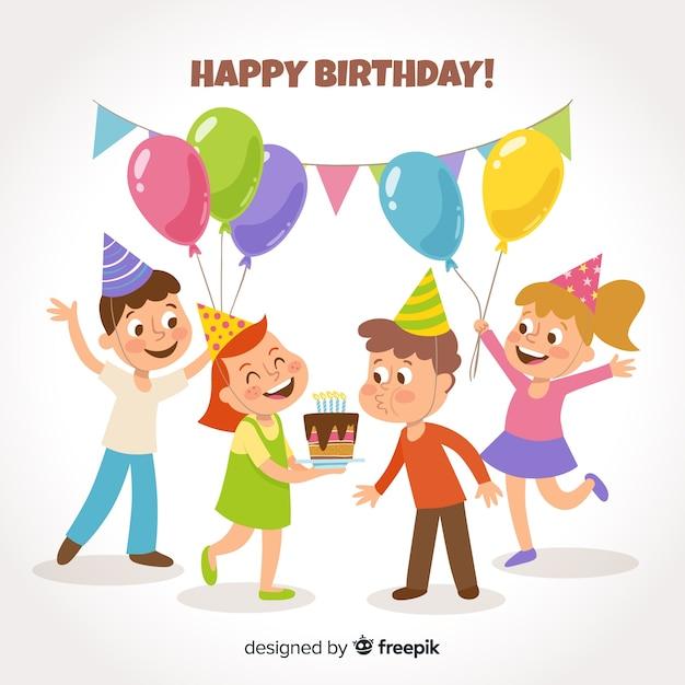 Sfondo di bambini compleanno piatto Vettore gratuito