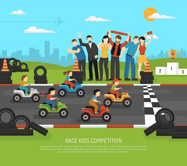 Sfondo di bambini di corse automobilistiche Vettore gratuito