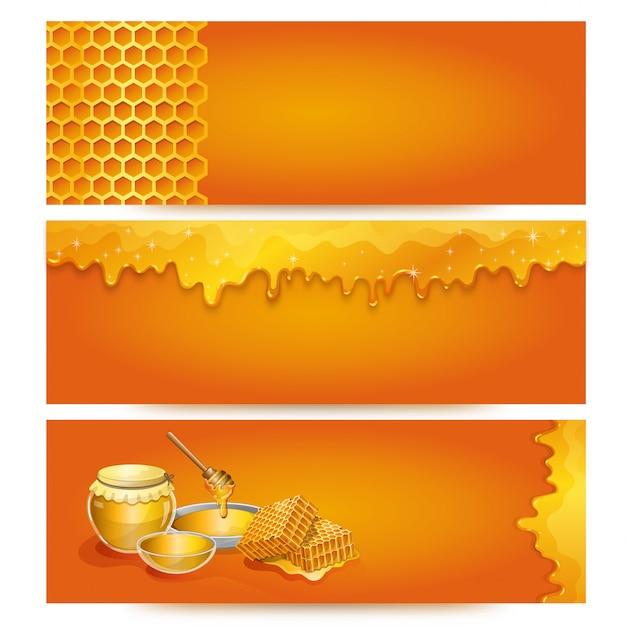 Sfondo di banner di miele naturale per negozio biologico Vettore Premium