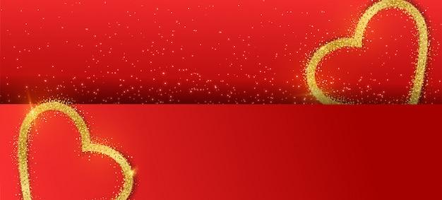 Sfondo di banner di san valentino con cuore glitter oro. Vettore Premium