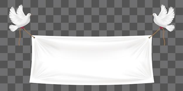 Sfondo di banner in vinile con piccione bianco e corde Vettore Premium