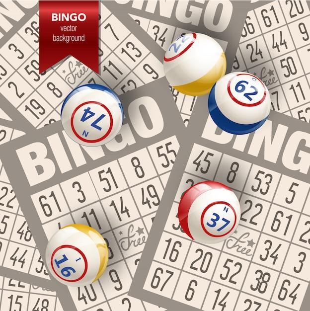 Sfondo di bingo con palle e carte Vettore Premium