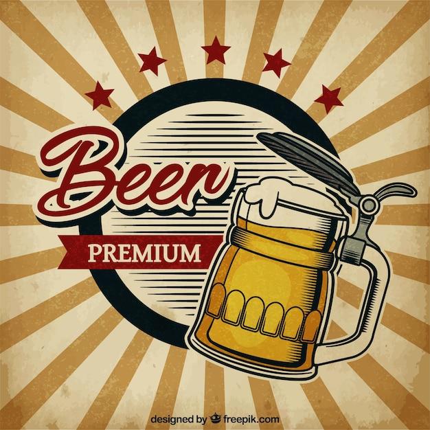 Sfondo di birra d'epoca Vettore gratuito