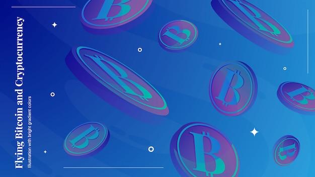 Sfondo di bitcoin volante Vettore Premium