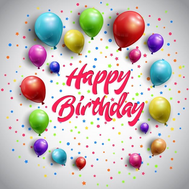 Famoso Sfondo di buon compleanno con palloncini colorati | Scaricare  MA28