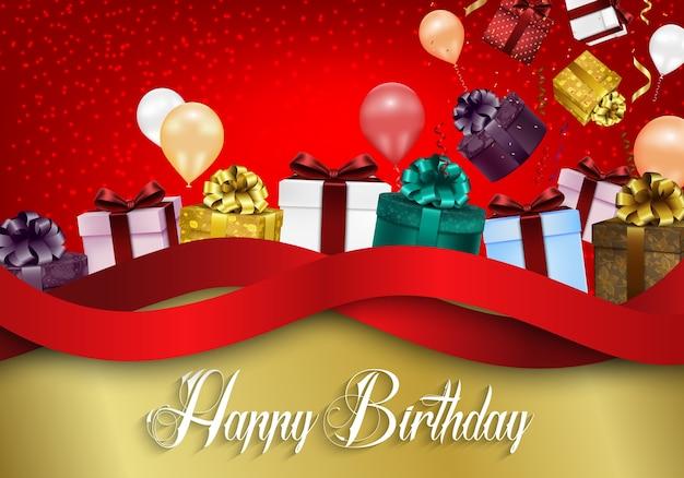 Sfondo di buon compleanno con palloncini di colore e scatole regalo Vettore Premium