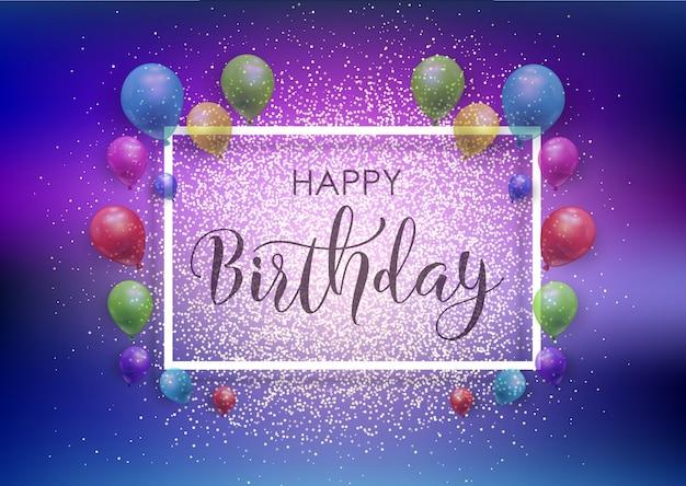 Sfondo Di Buon Compleanno Con Palloncini E Glitter Scaricare