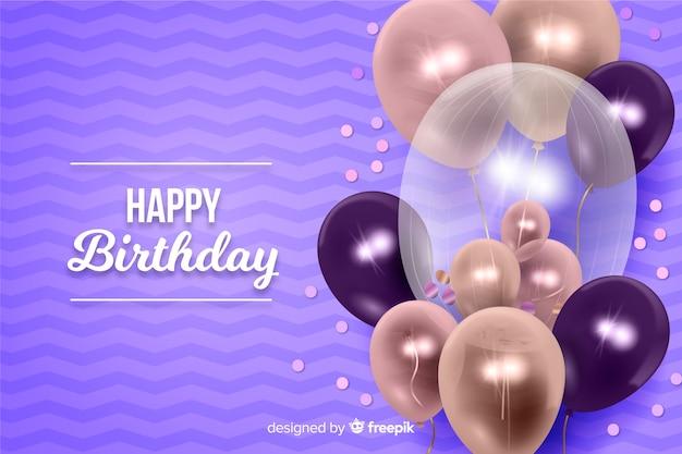 Sfondo di buon compleanno con palloncini Vettore gratuito