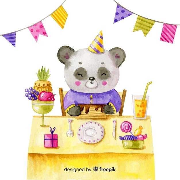 Sfondo di buon compleanno in stile acquerello Vettore gratuito